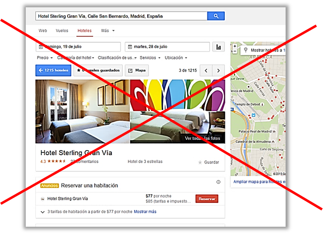 google hotel finder desaparece como pagina