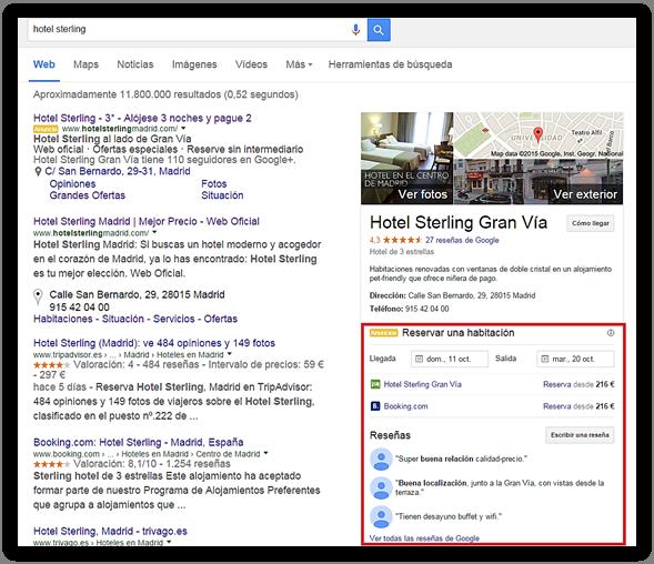 pagina de resultados de google con precios de hotel