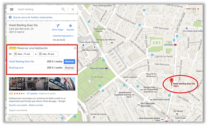 google maps con resultados de precios de hotel