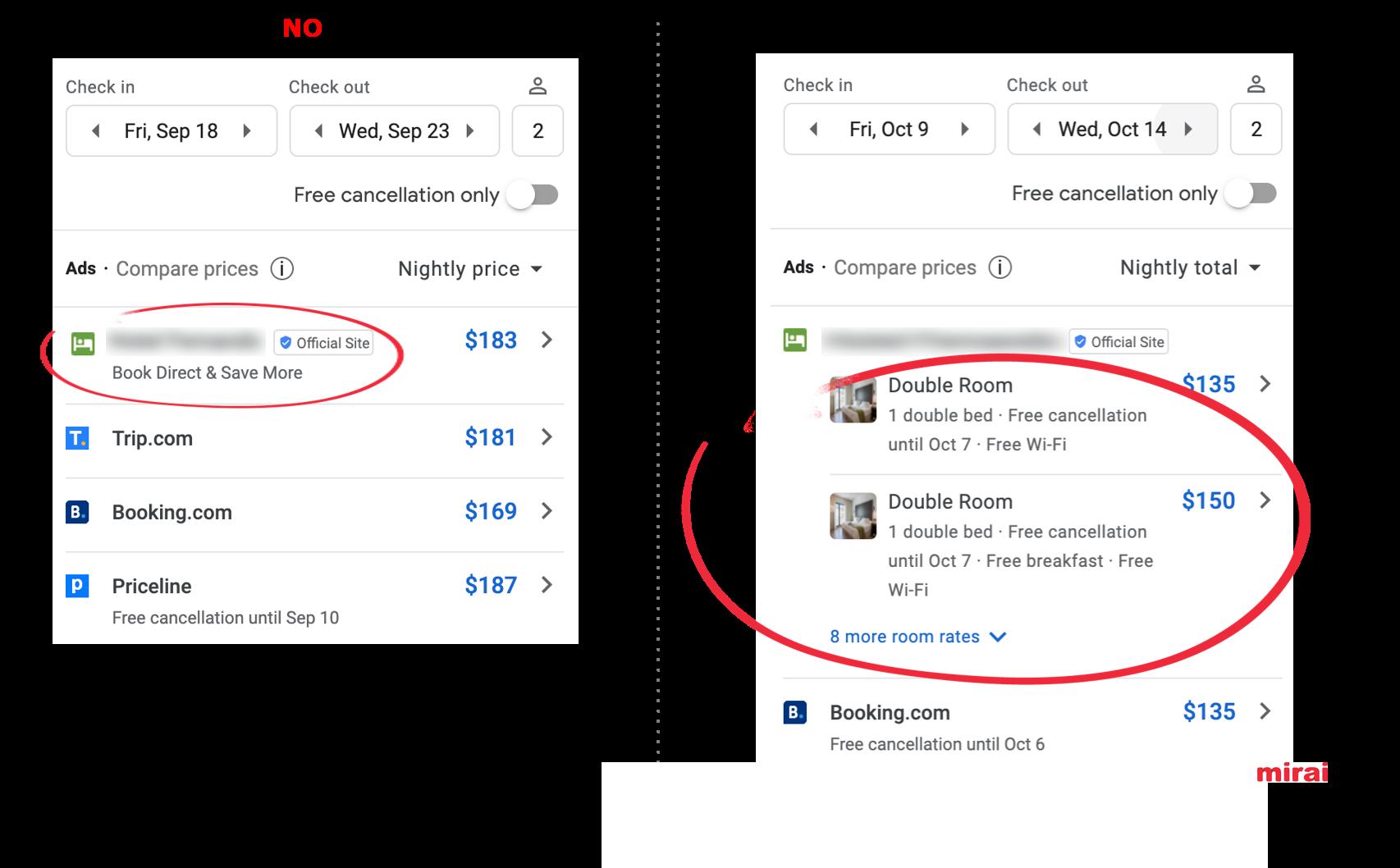 1. Room Bundles implementat - Google Hotel Ads - Mirai