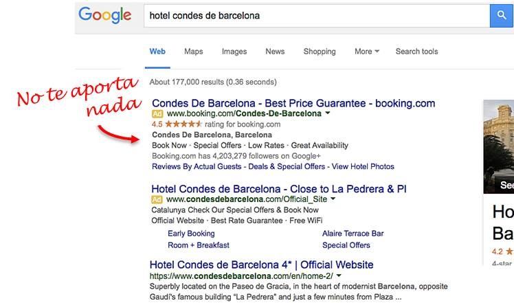 adword de hotel en busqueda por nombre google