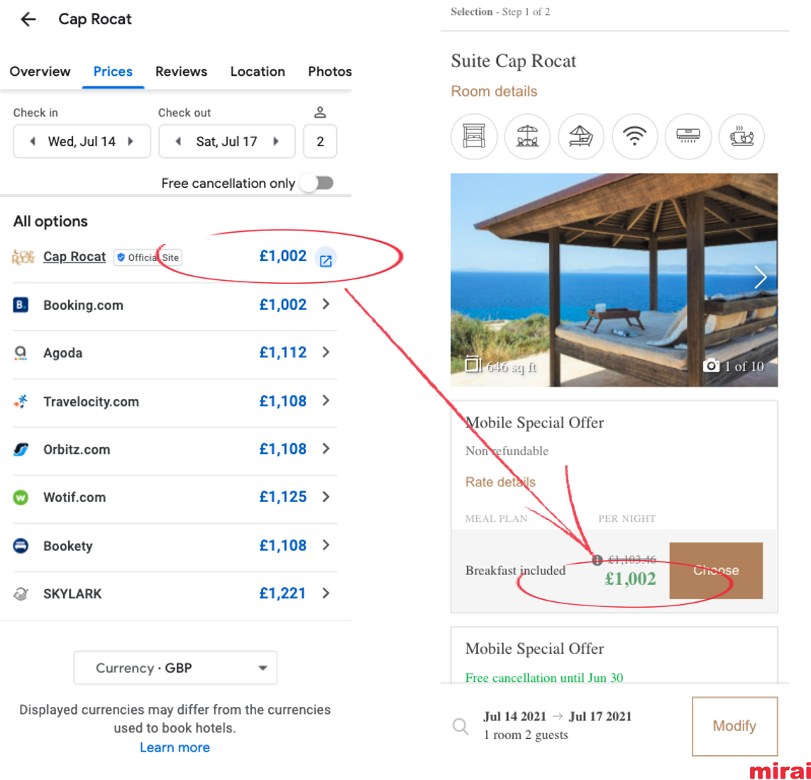 10. Consistency of currency and taxes in Google Hotel Ads - Mirai