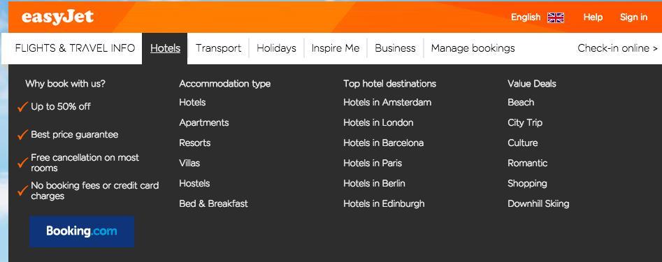 hoteles en easyjet, afiliado de booking.com