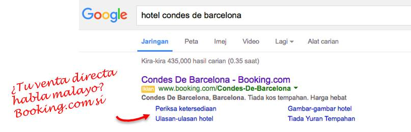 adword de booking en malayo sobre hotel