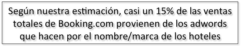 Según nuestra estimación, casi un 15% de las ventas totales de Booking.com provienen de los adwords que hacen por el nombre/marca de los hoteles