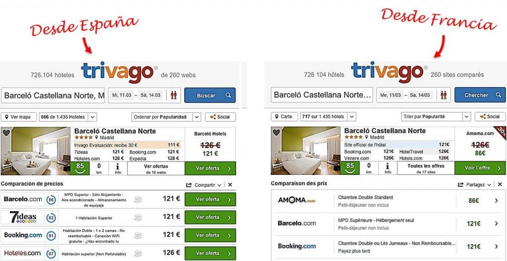 Precios diferentes de hotel desde España que desde Francia