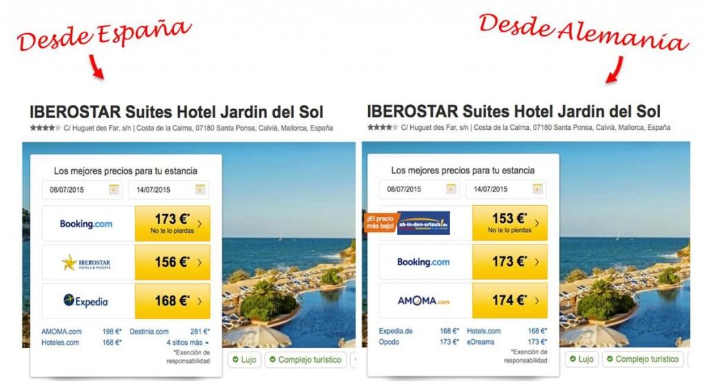 Precios diferentes de un mismo hotel desde España que desde Alemania