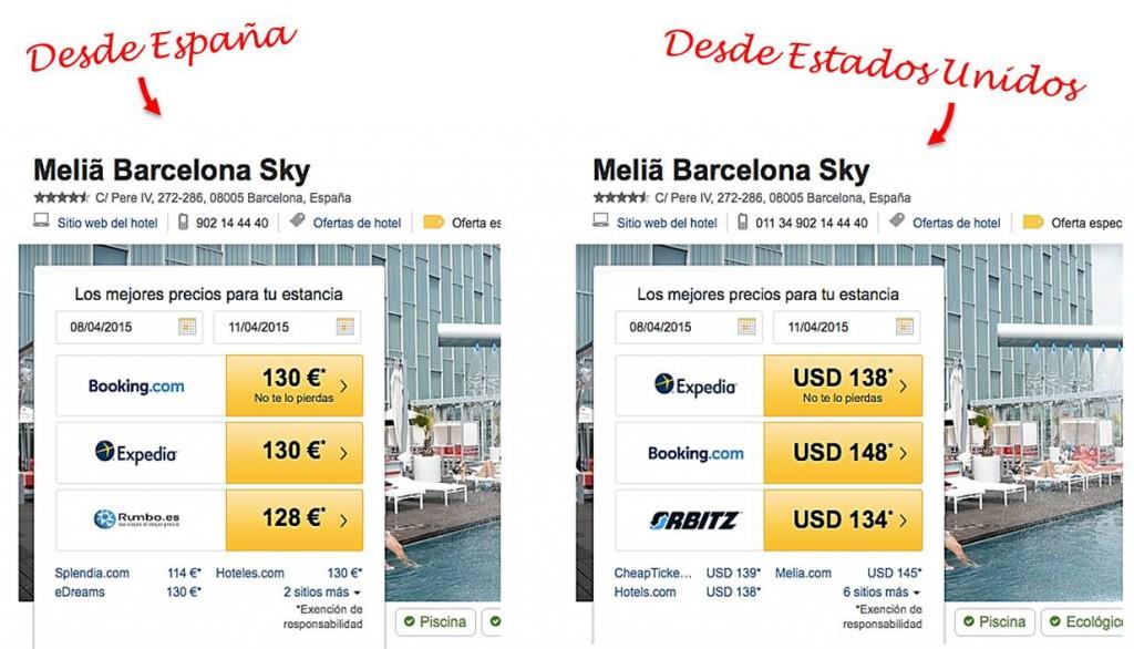 Precios de hotel distintos desde España que desde Estados Unidos