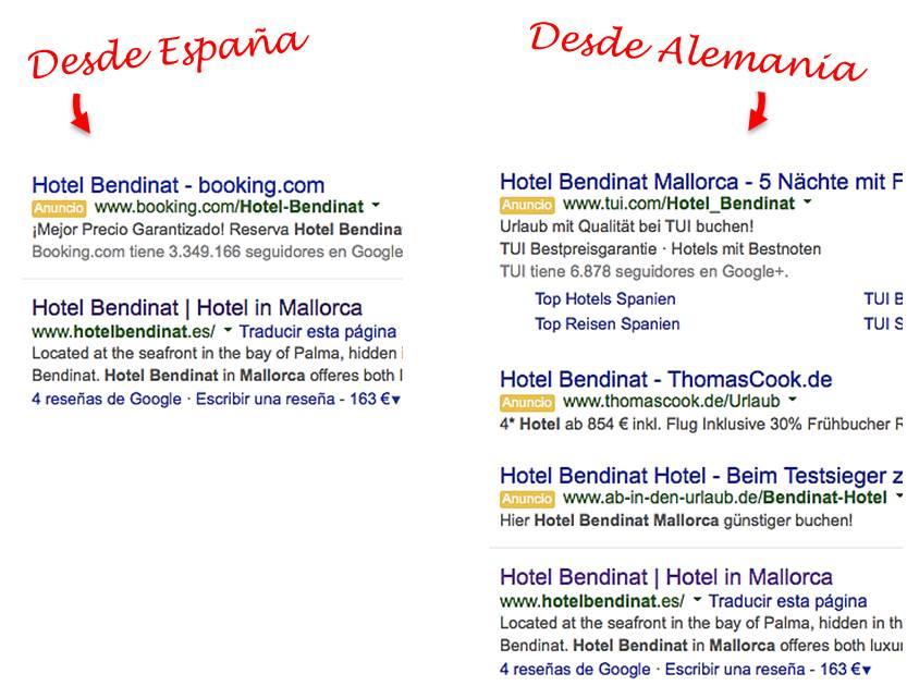 Adwords de hotel distintos desde España y Alemania