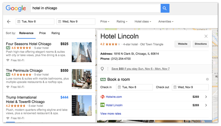 Resultats de diferents OTA i web de l'hotel en Book On Google