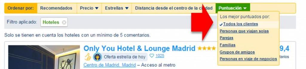 ordenacion de hoteles en booking.com por puntuación de las valoraciones de clientes