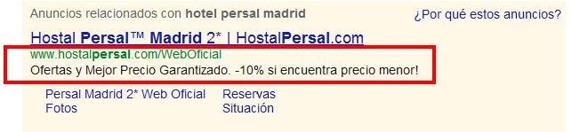 Persal declara garantía de precio en sus anuncios AdWords