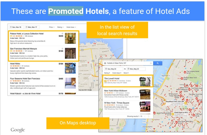 promoted hotels in maps and local search